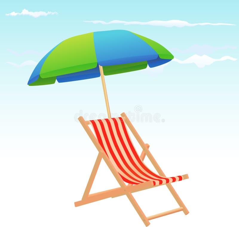 Sillas y paraguas de playa ilustración del vector