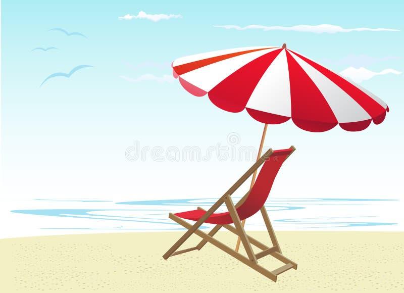 Sillas y paraguas de playa stock de ilustración