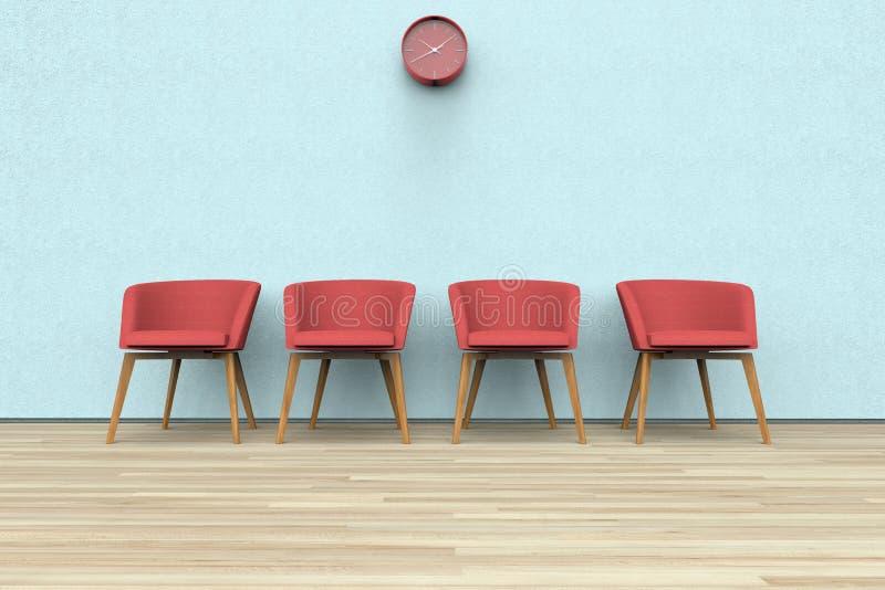 Sillas y reloj en una sala de espera fotos de archivo