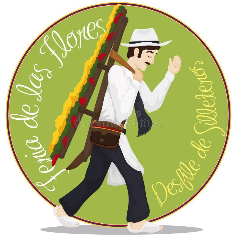 Silletero maschio tradizionale per il festival colombiano dei fiori, illustrazione di vettore royalty illustrazione gratis