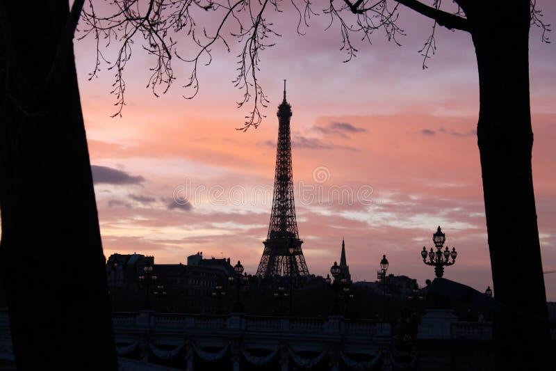 Sillhouete of Eiffel Tower royalty free stock photo