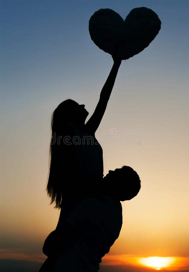 Sillhouette couple love royalty free stock photography