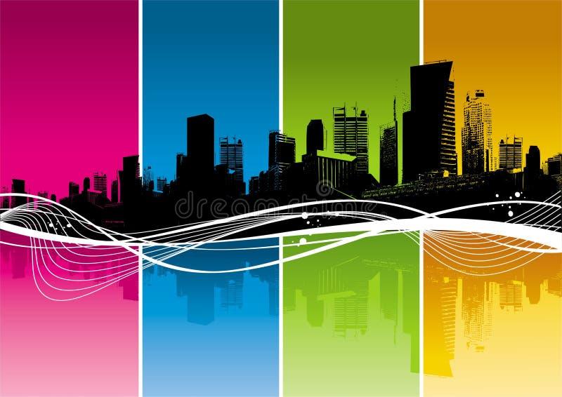 Sillhouette di paesaggio urbano illustrazione di stock