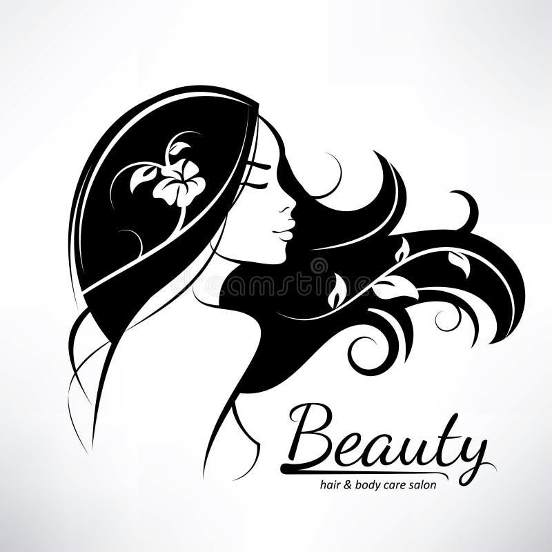Sillhouette estilizado do penteado da mulher ilustração do vetor