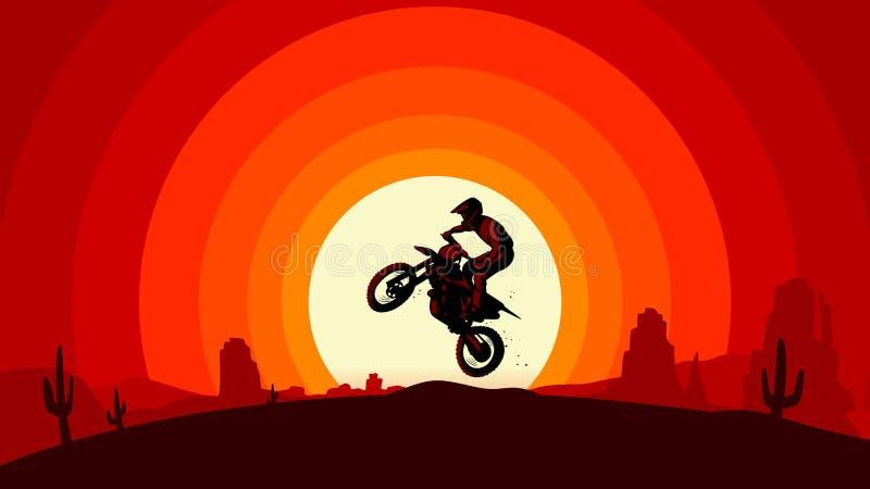 Sillhouette sautant de motocross dans l'illustration plate de style de dessert dunaire de lever de soleil de coucher du soleil illustration libre de droits