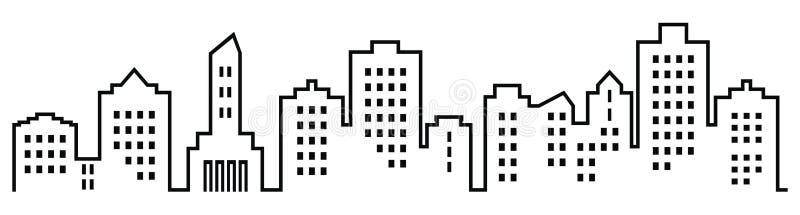 Sillhouette van stad, groep huizen met vensters royalty-vrije illustratie