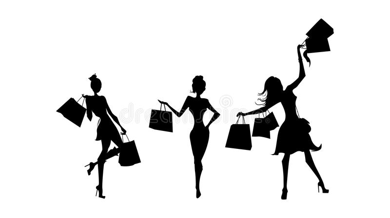 Sillhouettes de las compras fijados stock de ilustración
