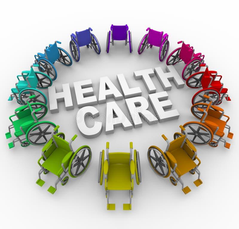Sillones de ruedas en anillo alrededor de palabras del cuidado médico libre illustration