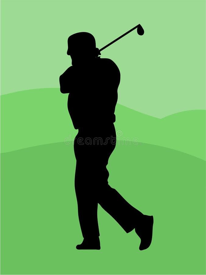 sillouette παικτών γκολφ απεικόνιση αποθεμάτων