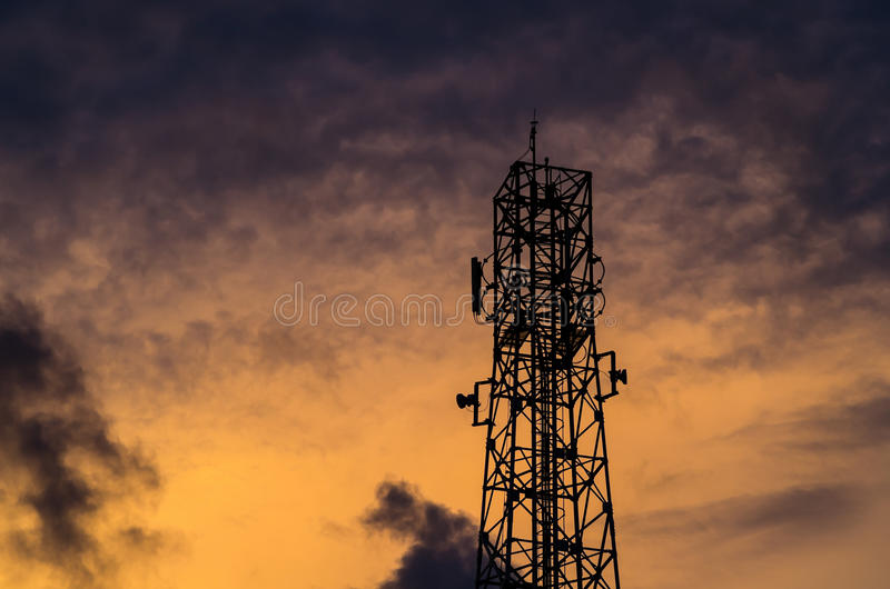 Sillouette Communications Tower And Sky Stock Photography