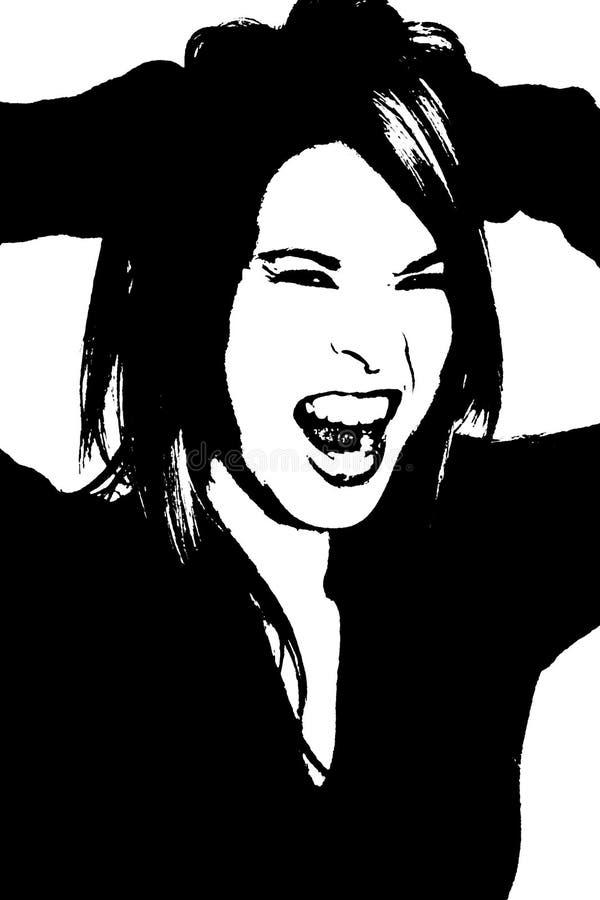 Sillouette de griterío stock de ilustración