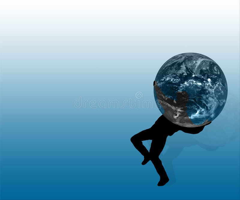 silloutette нося человека глобуса иллюстрация вектора
