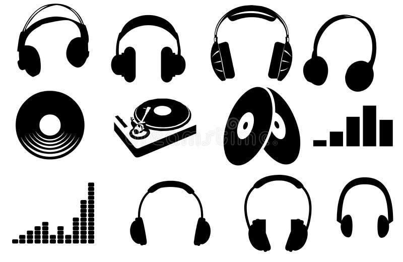 Silluettes headphone och turntable stock illustrationer