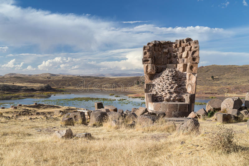 Sillustani Ancient burial ground with giant Chullpas cylindrical funerary towers built by a pre-Incan people near Lake Umayo in P. Eru royalty free stock photo