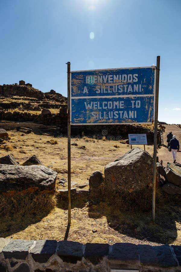 Sillustani arkeologisk kyrkogård, Peru royaltyfri foto
