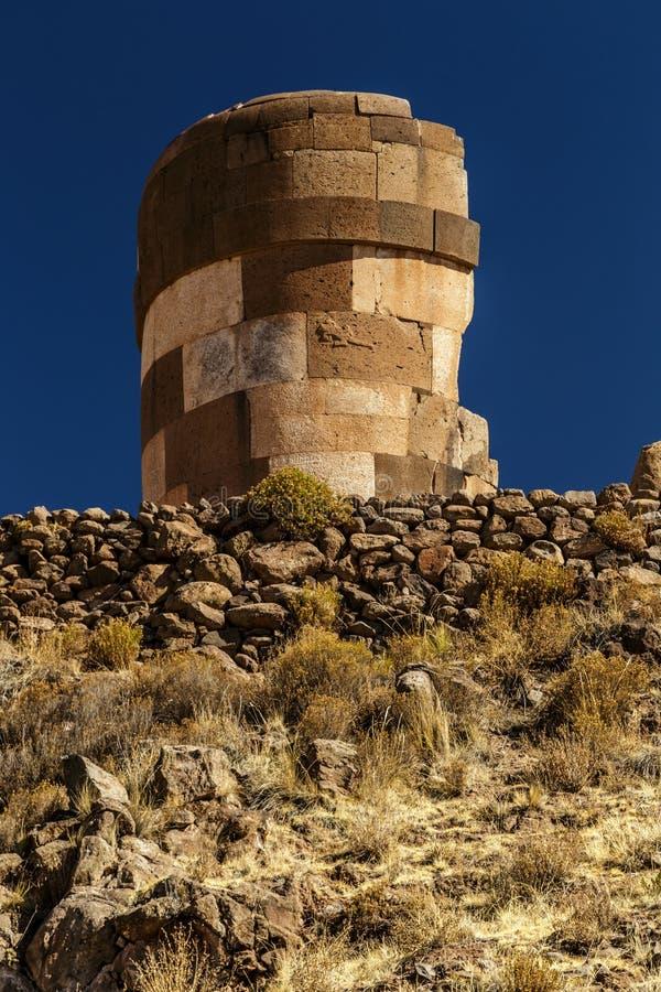 Sillustani arkeologisk kyrkogård, Peru arkivfoton
