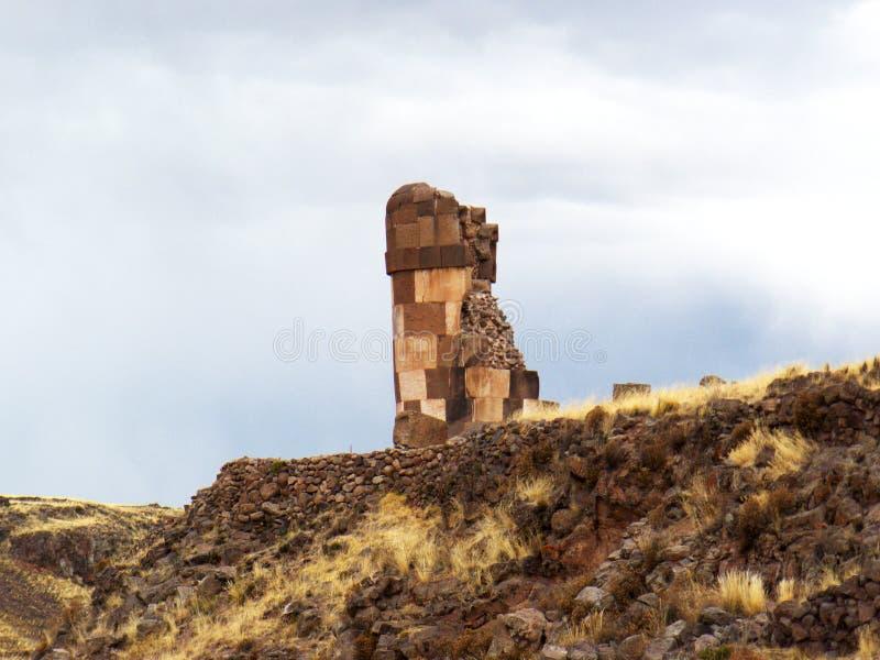 Sillustani fördärvar i Puno, Peru arkivbild