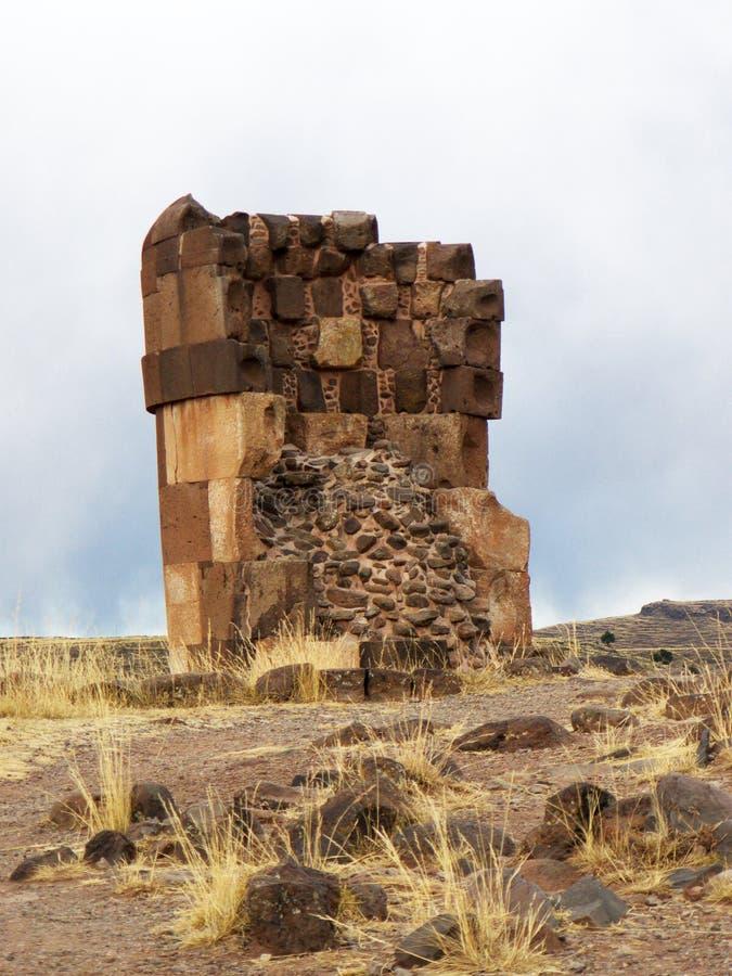Sillustani fördärvar i Puno, Peru arkivfoto