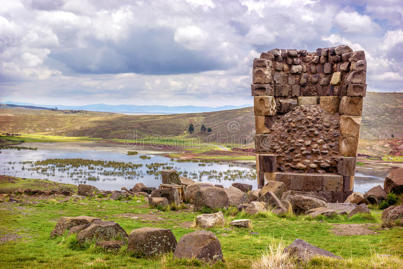 Sillustani - pre-Incan burial ground (tombs) on the shores of La royalty free stock photos