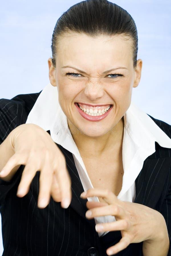 Crazy silly businesswoman stock photo