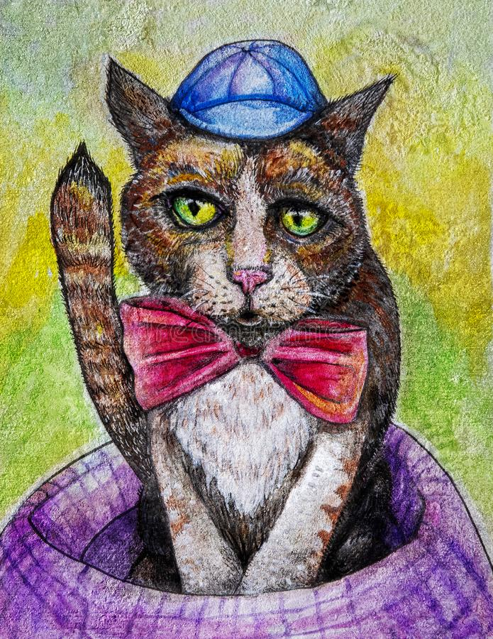Silly cat with hat and bow tie art. A silly tabby cat with greenish eyes is wearing a blue cap and a bow tie while sitting in a purple cat bed. Art in charcoal vector illustration