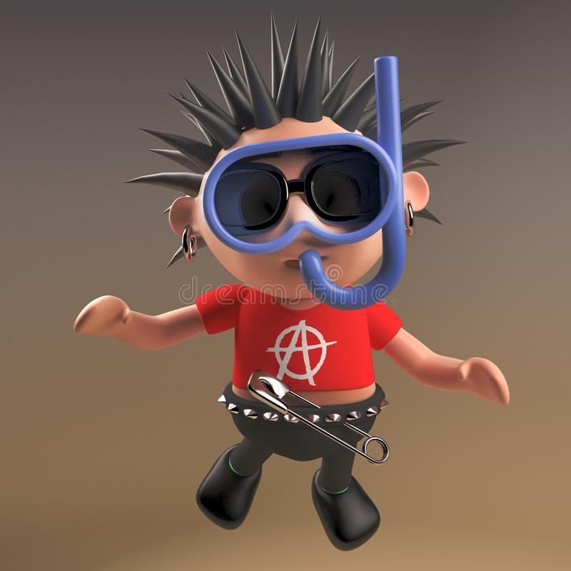 Silly 3d punk rocker with spikey hair goes diving with a snorkel and divers mask, 3d illustration. Render stock illustration