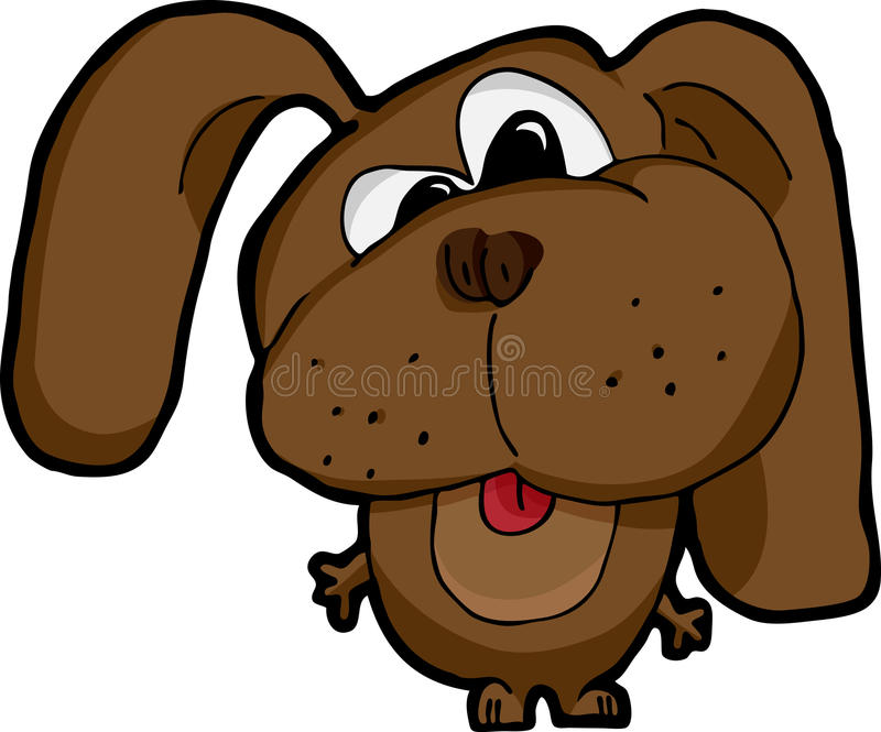 Silly Dog. Cartoon of a cross-eyed silly dog on white background stock illustration