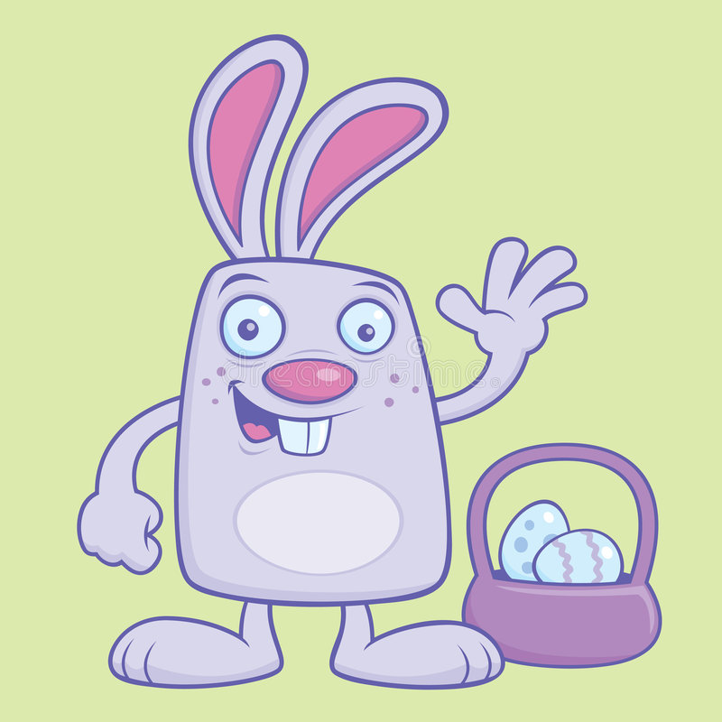 Silly Easter Bunny. With egg basket vector illustration royalty free illustration