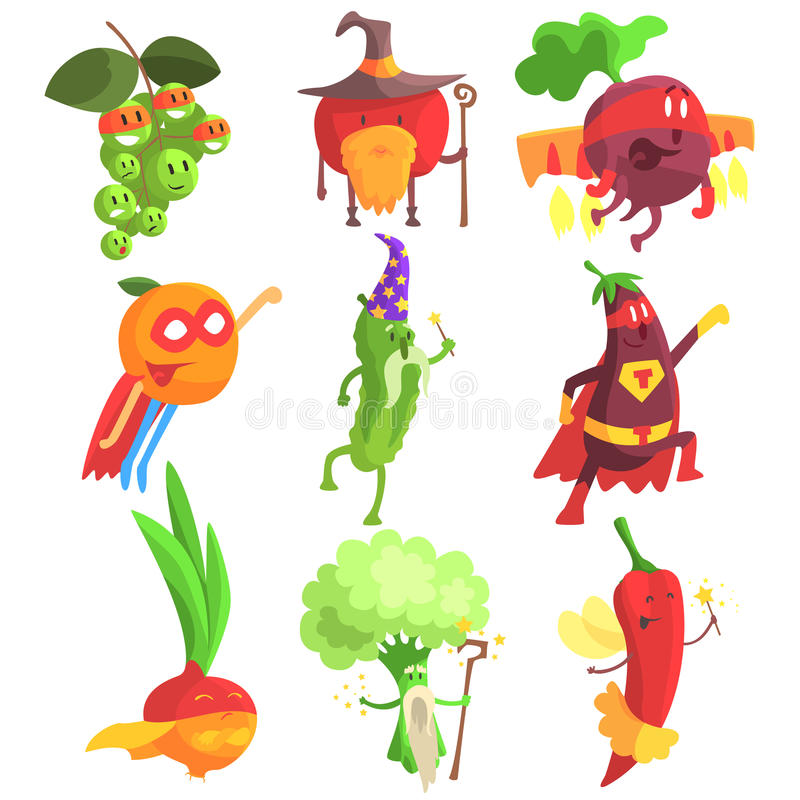 Silly Fantastic Fruit And Vegetable Characters Set. Vegetables As Magicians And Superheroes, Flat Geometric Design Childish Stickers On White Background vector illustration