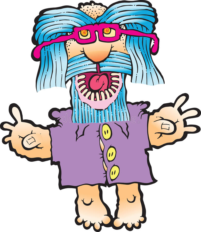Silly Hippie. An old smiling hippie with a long beard waving royalty free illustration