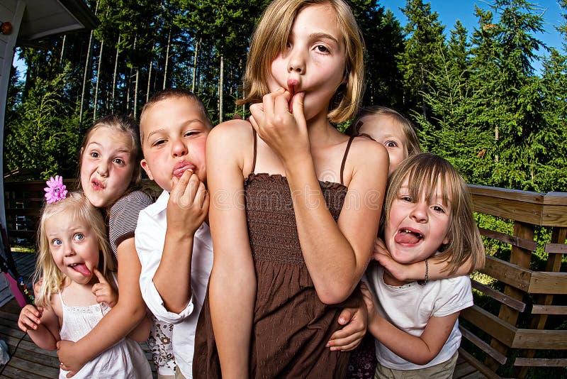 Silly kids stock photo