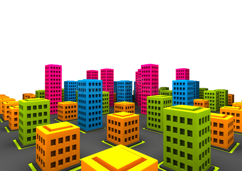 Silly little town vector illustration
