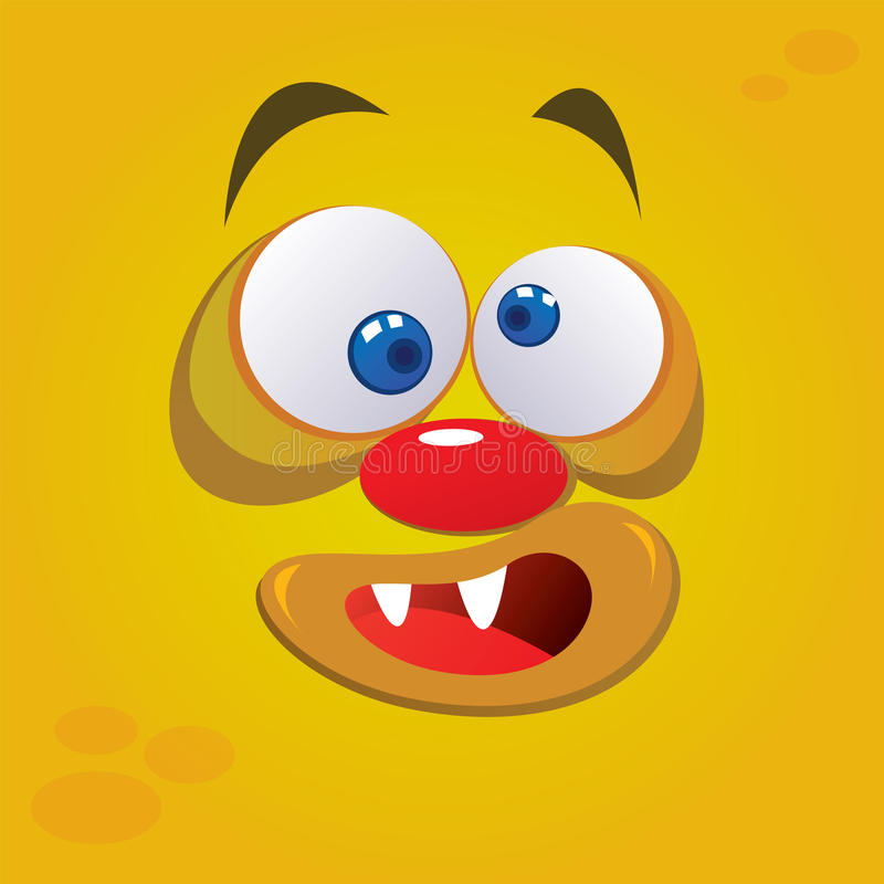 Silly Monster. Vector illustration of silly monster avatar in yellow color vector illustration