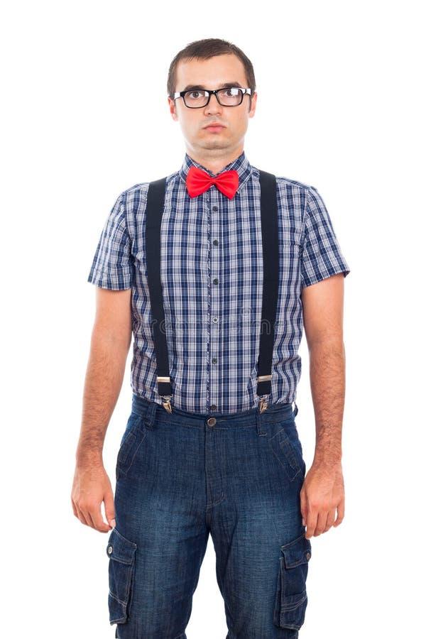 Silly nerd man portrait stock photos