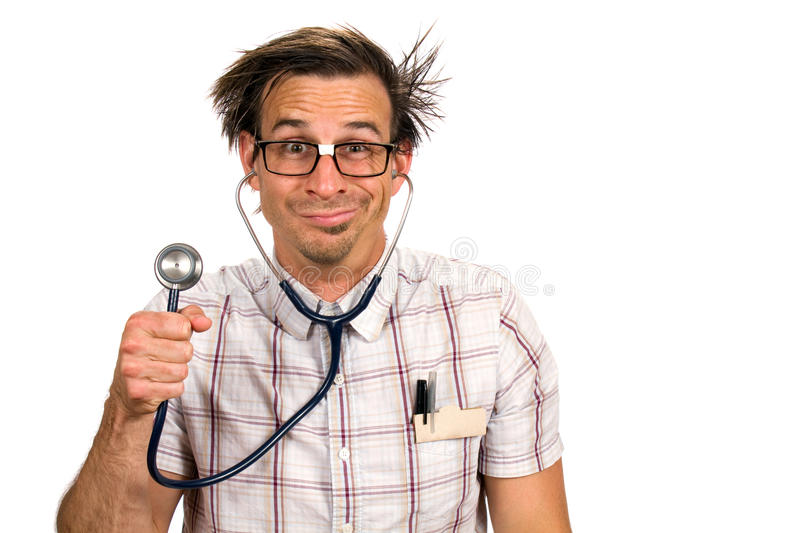 Silly Nerdy Doctor royalty free stock images