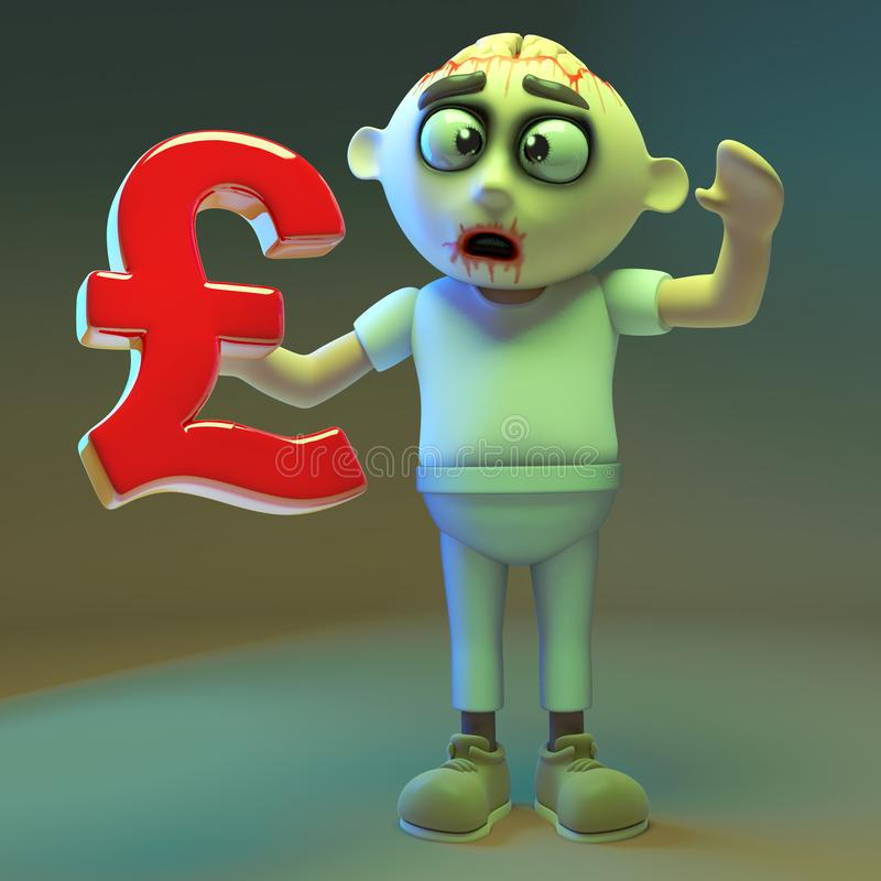 Silly undead zombie monster holding a UK pounds sterling currency symbol, 3d illustration. Render vector illustration