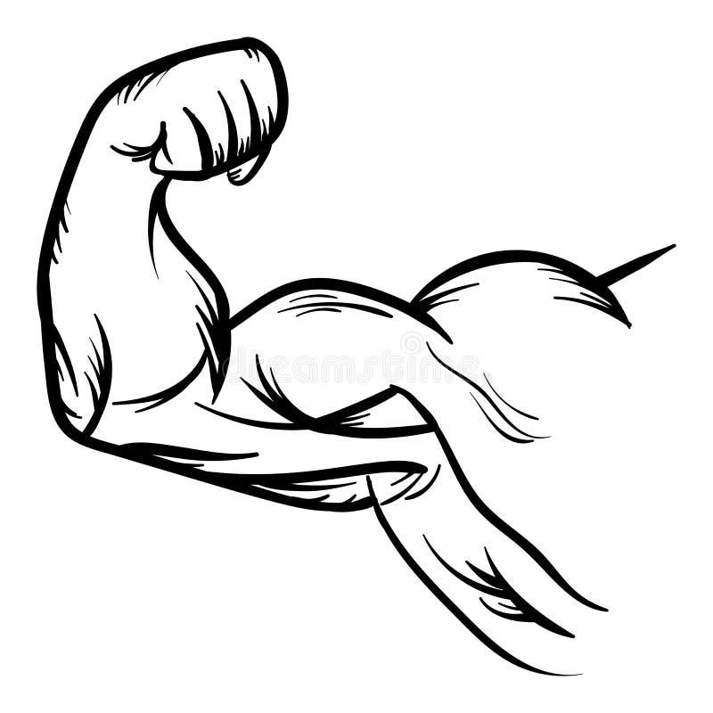 Silna Bodybuilder bicepsów przewodu ręki wektoru ikona ilustracja wektor