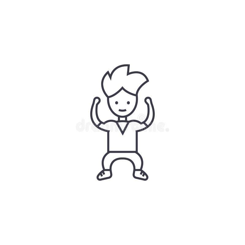 Silna dzieciaka wektoru linii ikona, znak, ilustracja na tle, editable uderzenia royalty ilustracja