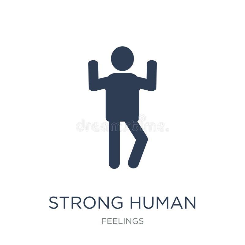 silna ludzka ikona Modna płaska wektorowa silna ludzka ikona na bielu ilustracji