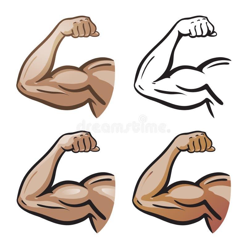 Silna męska ręka, ręka mięśnie, biceps ikona lub symbol, Gym, zdrowie, proteinowy logo obcy kreskówki kota ucieczek ilustraci dac ilustracja wektor