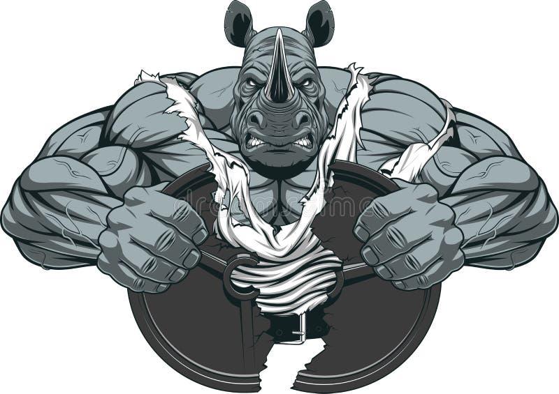 Silna nosorożec atleta ilustracji