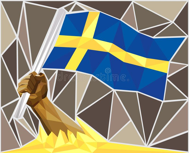 Silna ręka Podnosi Szwedzką flagę ilustracji