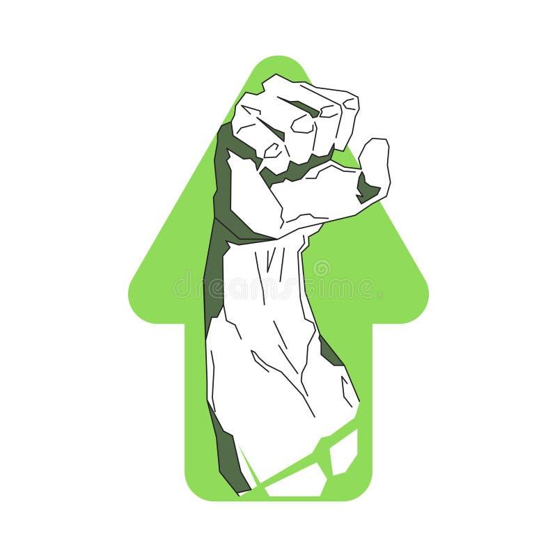 Silna ręka Na Strzałkowatym tło sprawności fizycznej centrum Lub Gym loga Świetlicowym szablonie ilustracja wektor