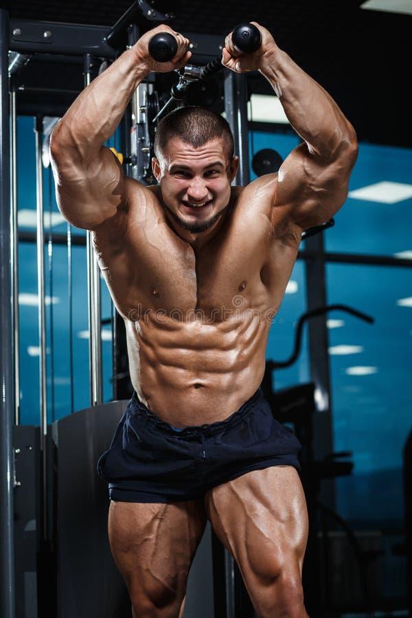 Silna Sportowa mężczyzna sprawności fizycznej modela półpostać pokazuje mięśnie w gym obraz royalty free