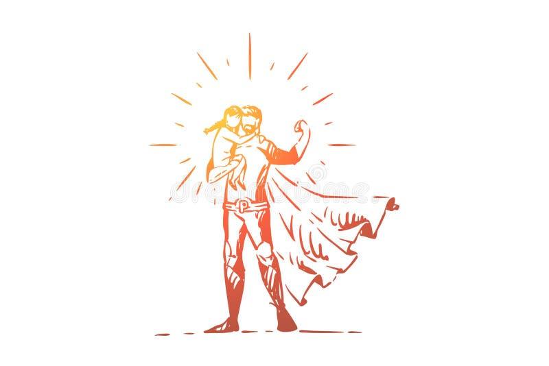 Silna super taty mienia córka, najlepszy ojciec z małym dzieckiem, bohater w kostiumu, bohater w przylądku, peleryna ilustracji