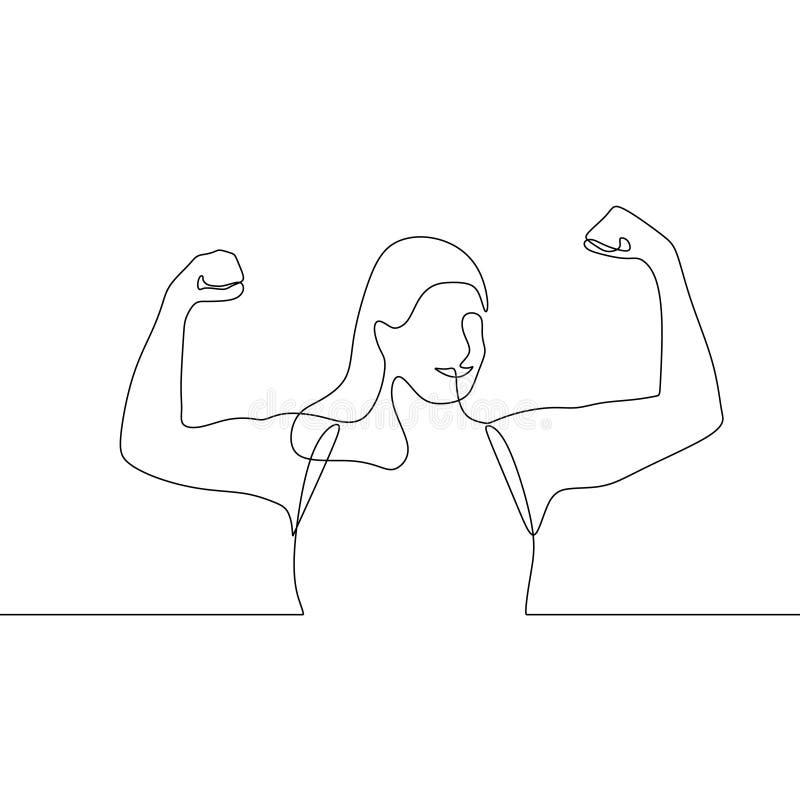 Silne kobiety podnosi jej ręki w górę ciągłego jeden kreskowego rysunku royalty ilustracja