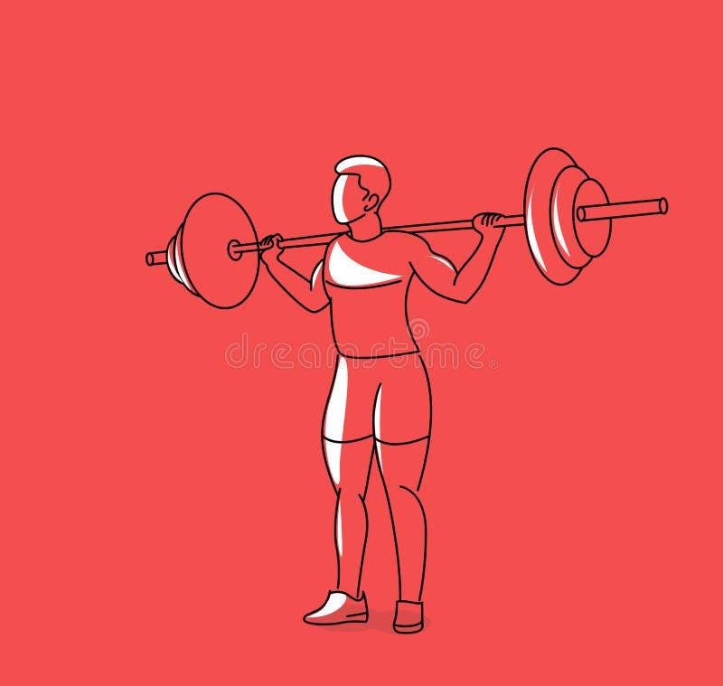 Silnego bodybuilder sportowa podnośny wagi ciężkiej barbell nad jego głową ilustracji