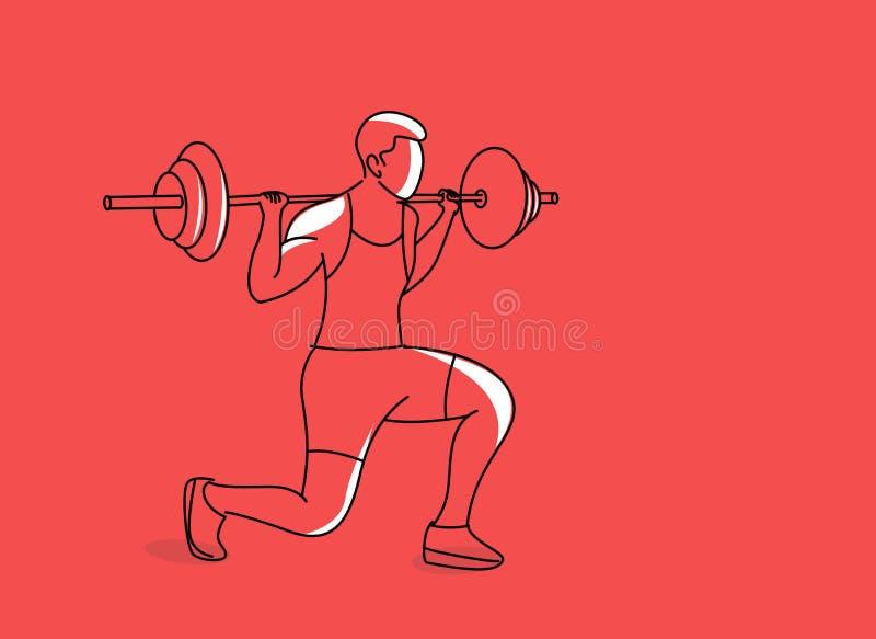 Silnego bodybuilder sportowa podnośny wagi ciężkiej barbell nad jego głową ilustracja wektor