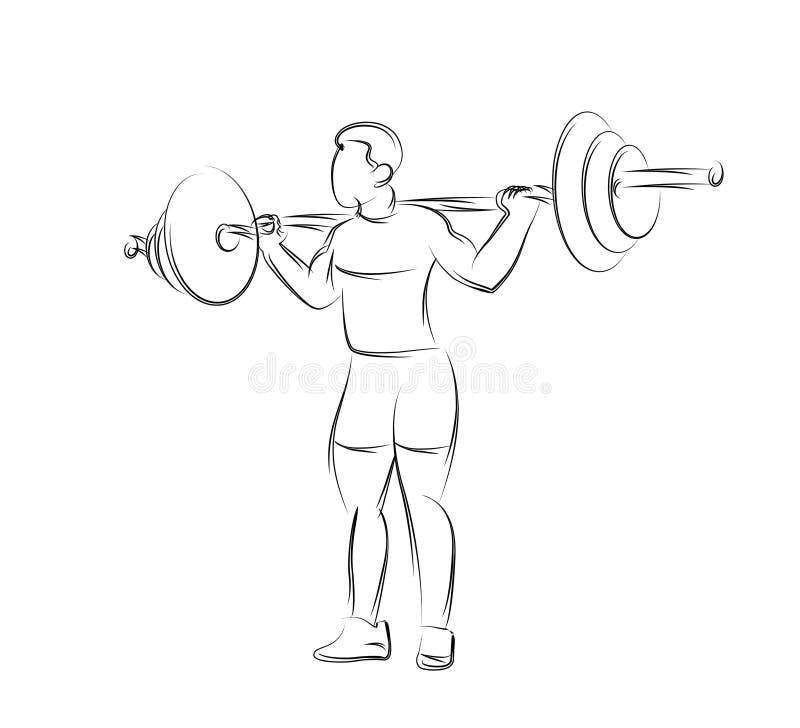 Silnego bodybuilder sportowa podno?ny wagi ci??kiej barbell nad jego g?ow? ilustracja wektor