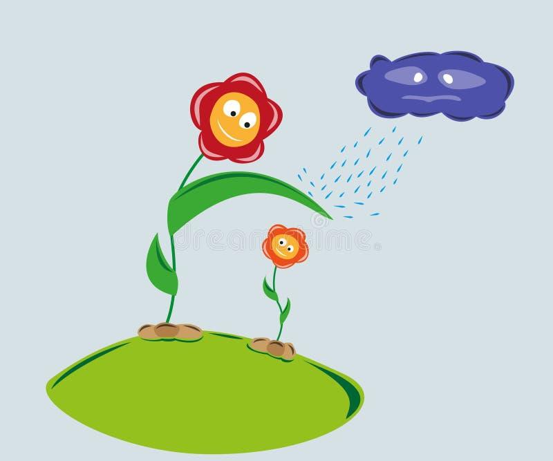 Kwiaty i dżdżysta chmura ilustracji